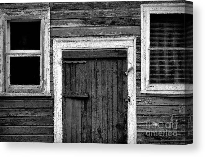 Barn Canvas Print featuring the photograph Barn Door And Windows Bw by Mike Nellums