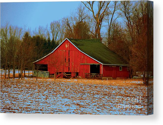 Winter Canvas Print featuring the photograph Barn With Double Doors by Laura Birr Brown