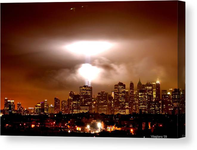 Cityscape Canvas Print featuring the photograph Beams Of Light by Brian Vitagliano