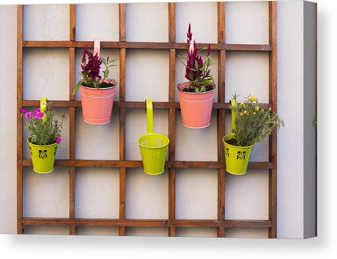 Garden Canvas Print featuring the photograph Beautiful Idea For Flower Pots In Garden by Newnow Photography By Vera Cepic
