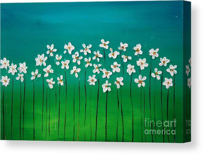 Flowers Canvas Print featuring the painting Beauty In Blue by Preethi Mathialagan