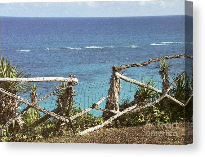Bermuda Canvas Print featuring the photograph Bermuda Fence And Ocean Overlook by Heather Kirk