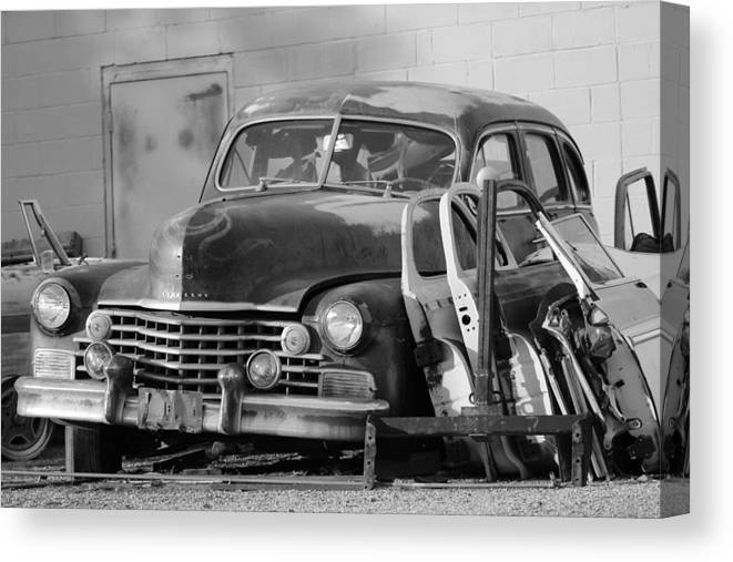 Classic Cadillac Canvas Print featuring the photograph Better Days In Black And White by Colleen Cornelius