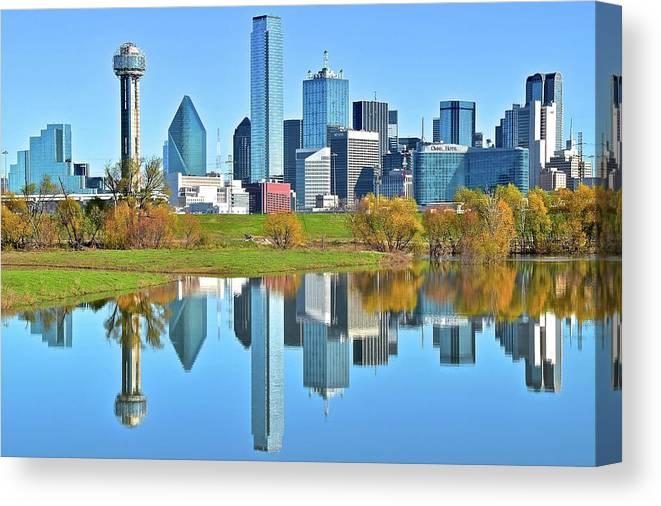 Dallas Canvas Print featuring the photograph Big D Reflection by Frozen in Time Fine Art Photography