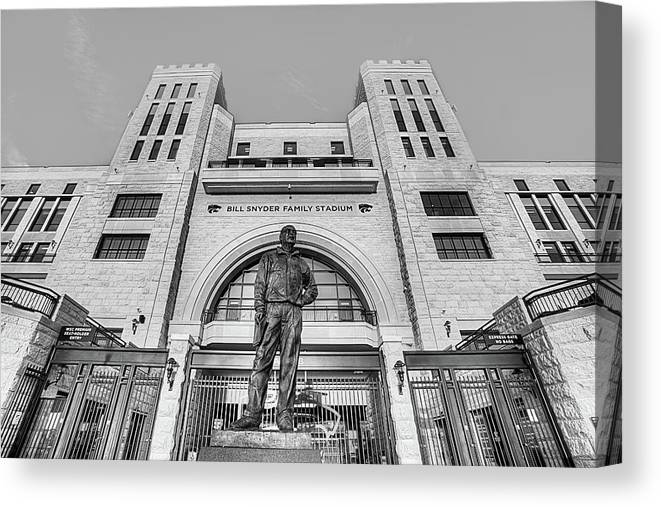 Bill Snyder Family Stadium In Black And White Canvas Print Canvas