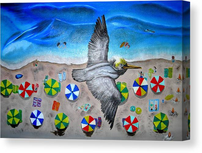 Pelican Canvas Print featuring the painting Bird by Kathern Welsh