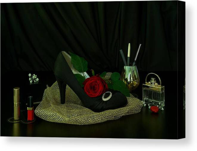 Black Canvas Print featuring the photograph Black, Gold, And Shoe by Carlene Smith