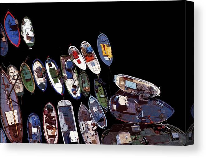 Boats Canvas Print featuring the photograph Black Harbor by Joe Bonita