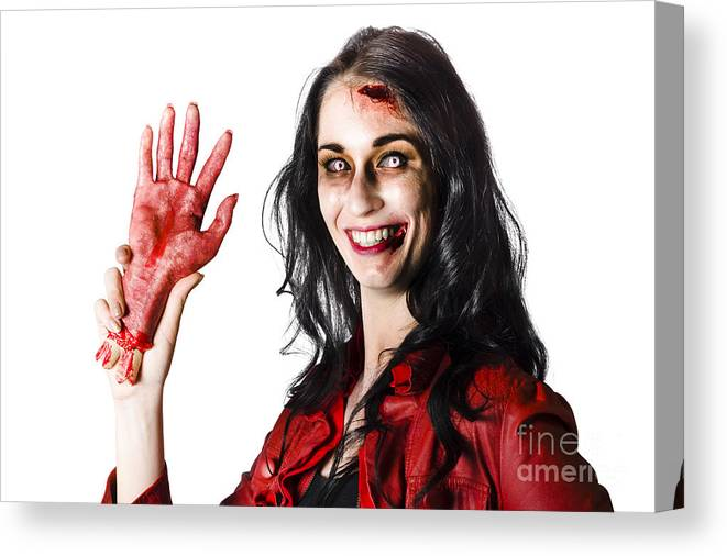 Awful Canvas Print featuring the photograph Bloody Zombie Woman With Severed Hand by Jorgo Photography - Wall Art Gallery