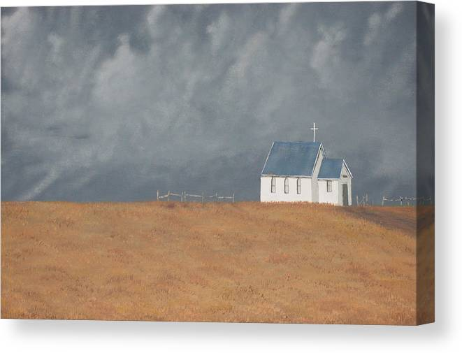 Church Canvas Print featuring the painting Blue Plains Church by Candace Shockley