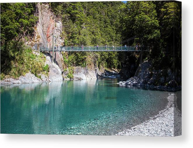 Joan Carroll Canvas Print featuring the photograph Blue Pools New Zealand by Joan Carroll
