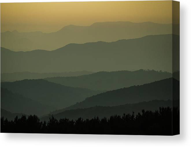 Smokey Mountains Canvas Print featuring the photograph Blue Ridge Layers by Daniel Hedges