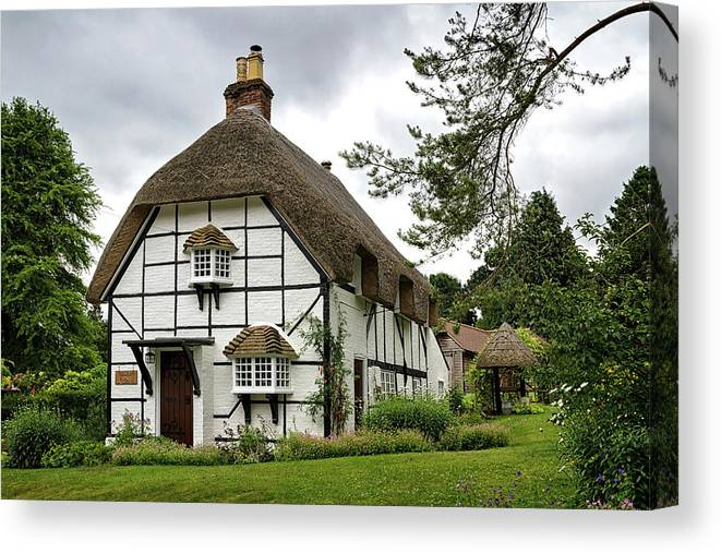 England Canvas Print featuring the photograph Bluebell Cottage by Shirley Mitchell