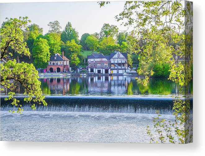 Boathouse Canvas Print featuring the photograph Boathouse Row - Framed In Spring by Bill Cannon