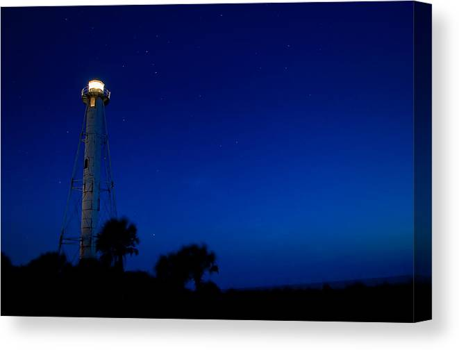 Lighthouse Canvas Print featuring the photograph Boca Grande Lighthouse On A Starry Night by Rich Leighton