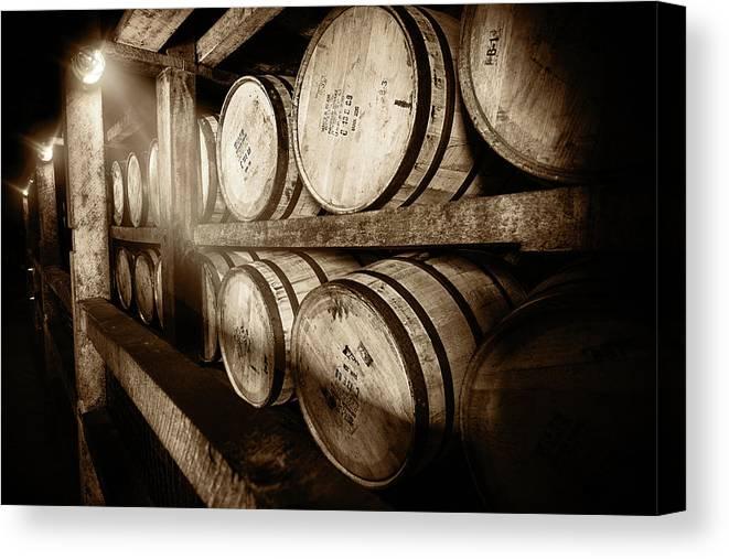 Bourbon Canvas Print featuring the photograph Bourbon Barrels by Karen Varnas