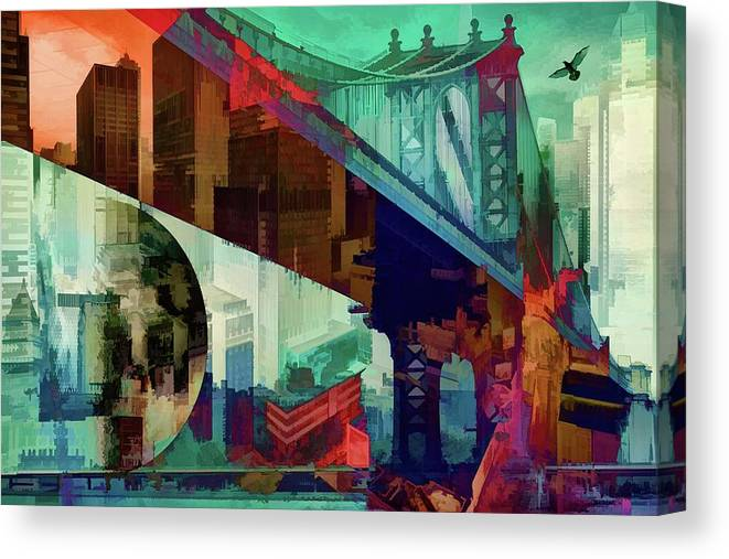 New York Canvas Print featuring the digital art Bridges Of New York by Daniel Arrhakis