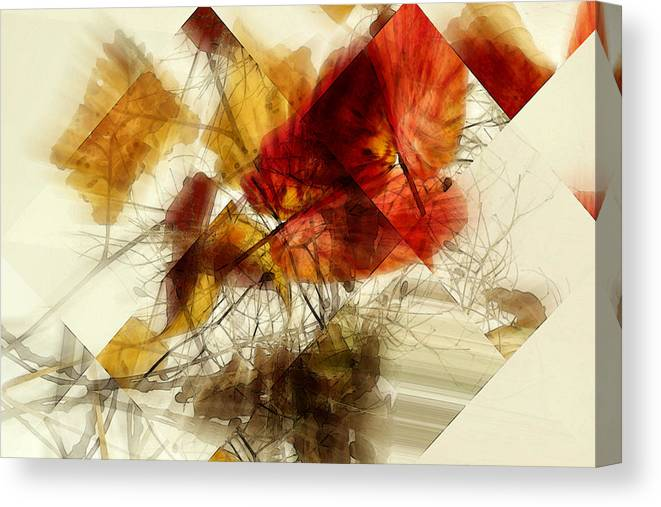 Leaves Canvas Print featuring the mixed media Broken Leaves by Martine Affre Eisenlohr