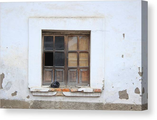 Window Canvas Print featuring the photograph Broken Window And Trash by Robert Hamm