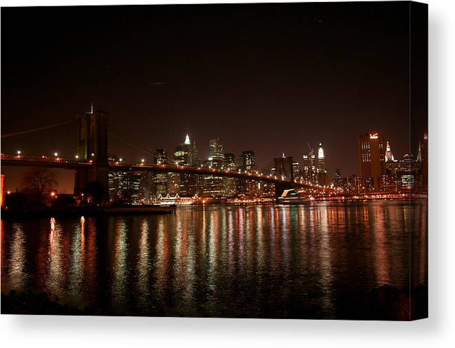 Brooklyn Bridge Canvas Print featuring the photograph Brooklyn Bridge At Night by Jason Hochman