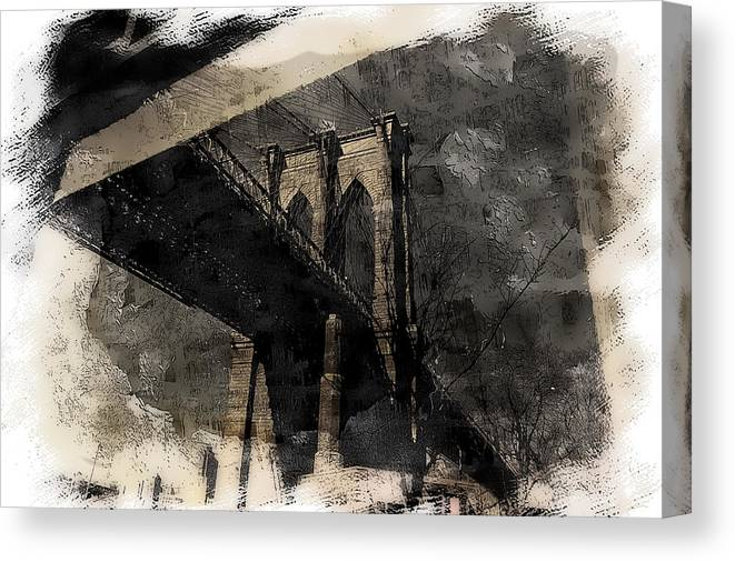 New York Canvas Print featuring the photograph Brooklyn Bridge Reflection Abstract by Jeff Watts