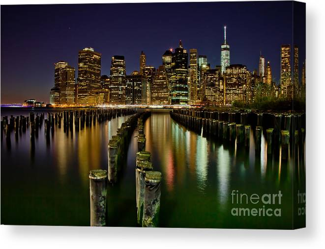 New York City Canvas Print featuring the photograph Brooklyn Pier At Night by Az Jackson