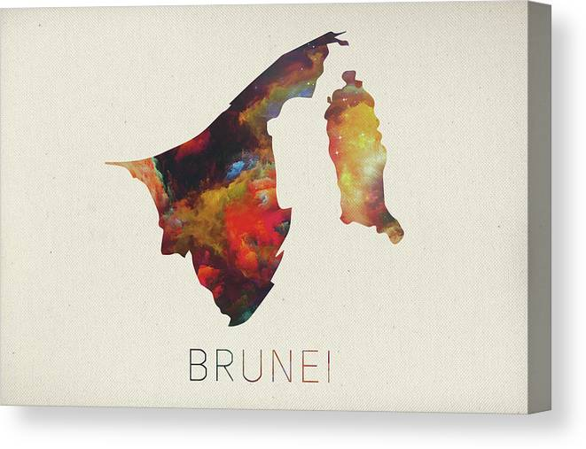 Brunei Canvas Print featuring the mixed media Brunei Watercolor Map by Design Turnpike