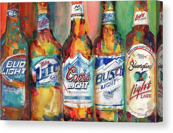 Bud Light Miller Lite Coors Light Busch Light Yuengling Light Combo Beer  Canvas Print