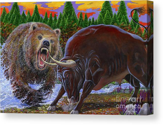 Bull Canvas Print featuring the painting Bull And Bear by Carey Chen