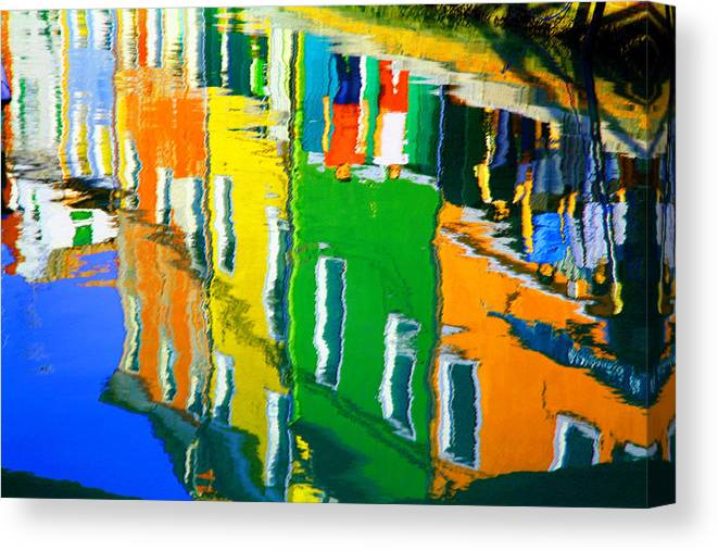 Burano Canvas Print featuring the pastel Burano Reflections by Donna Corless
