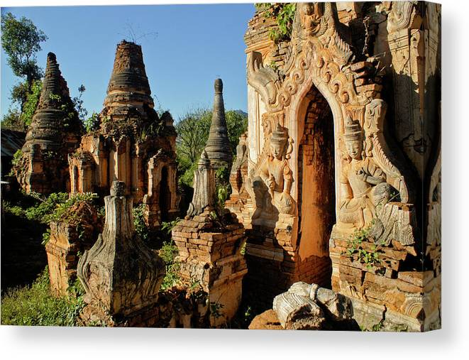 Asia Canvas Print featuring the photograph Burmese Pagodas In Ruins by Michele Burgess