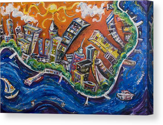 New York City Manhattan Hudson River Canvas Print featuring the painting Burning City by Jason Gluskin
