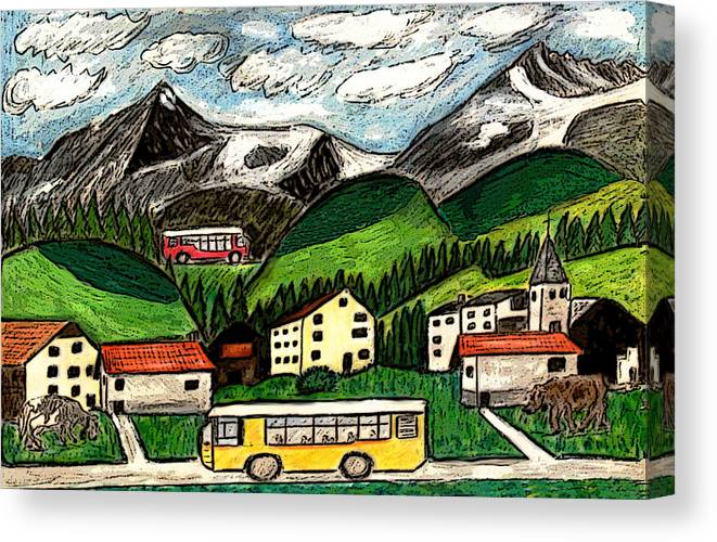 Switzerland Art Drawing Mixed Media Travel Landscape Tour Places Europe Houses Mountains Cows Canvas Print featuring the painting Bus Travel by Monica Engeler