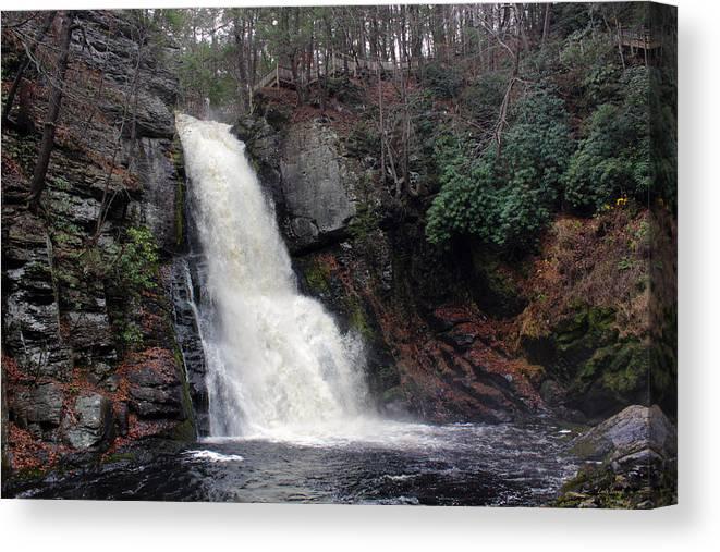 Bushkill Falls Canvas Print featuring the photograph Bushkill Falls by Linda Sannuti