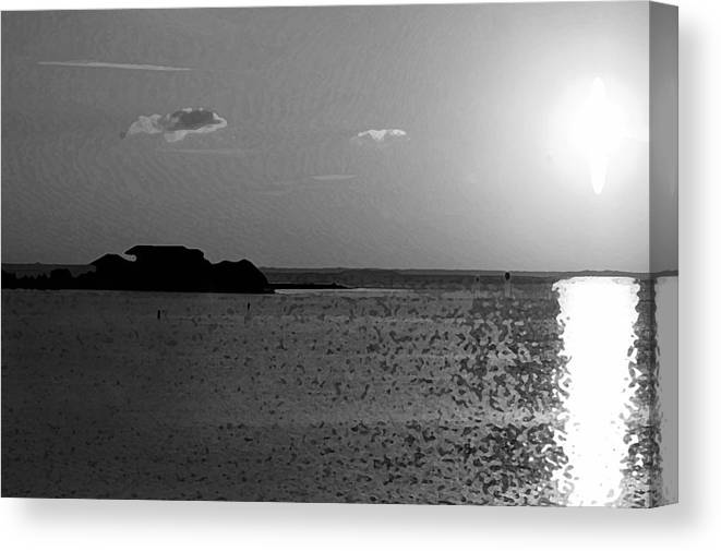 Pelican Canvas Print featuring the photograph Bw Sunset House by Michael Thomas