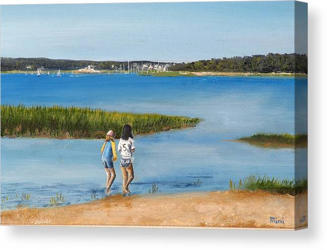 Girls Canvas Print featuring the painting By The Shore by Mimi Schlichter
