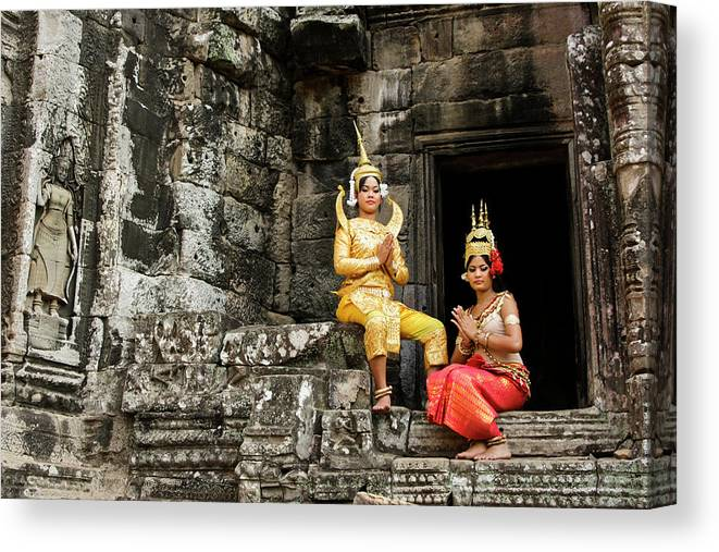 Asia Canvas Print featuring the photograph Cambodian Dancers At Angkor Thom by Michele Burgess