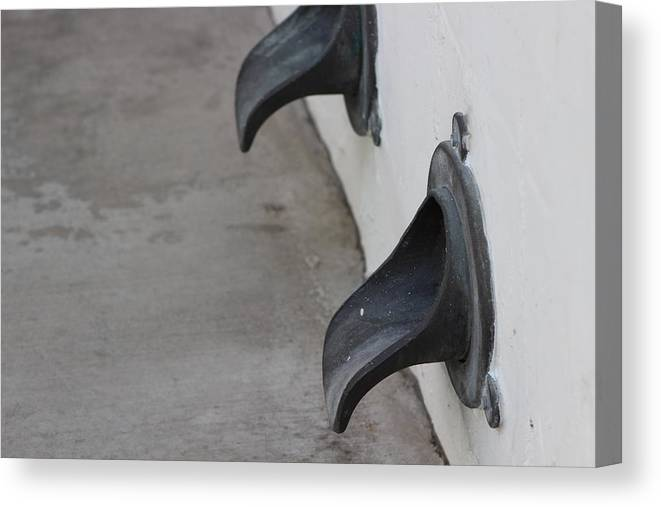 Water Spout Canvas Print featuring the photograph Cast Iron Rain Spouts In Stucco Building Photograph By Colleen by Colleen Cornelius