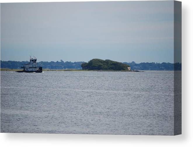 Charleston Harbor Canvas Print featuring the photograph Castle Pinckney And Boat by Faye Bryant