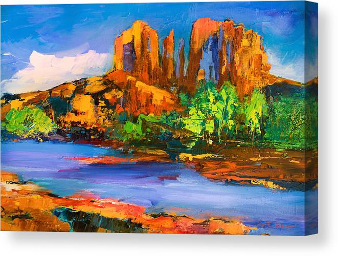 Sedona Canvas Print featuring the painting Cathedral Rock Afternoon by Elise Palmigiani