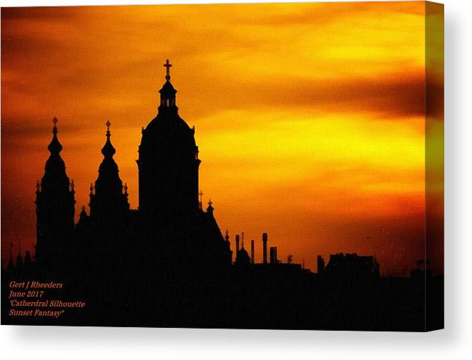 Cathedral.sunset Canvas Print featuring the digital art Cathedral Silhouette Sunset Fantasy L A by Gert J Rheeders