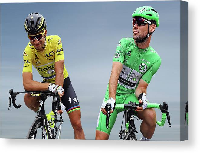 Mark Cavendish Canvas Print featuring the photograph Cavendish V Sagan 1 by Smart Aviation