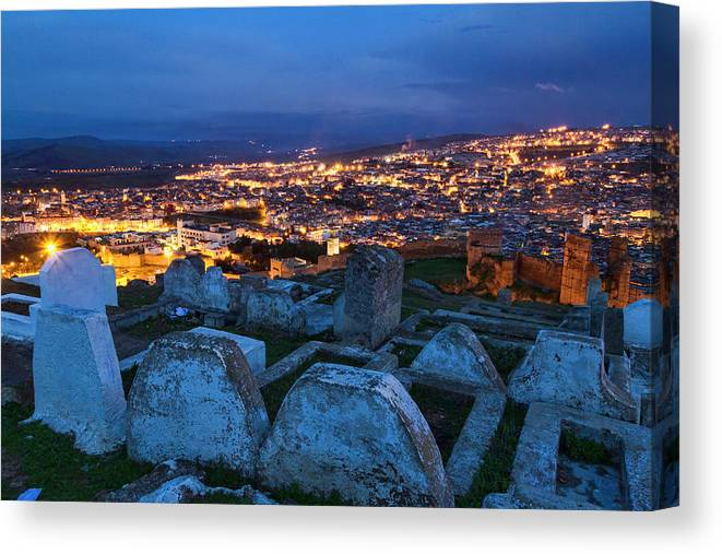 Cemetery Overlooking Fes Morocco Canvas Print featuring the photograph Cemetery Overlooking Fes, Morocco by Lindley Johnson