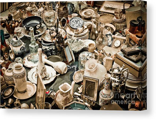 Old; Antique; Vintage; Retro; Background; Style; Art; Decor; Decorating; Decoration; Grunge; Antiquities; Object; Old-fashioned; Classic; Collection; Valuable; Junk; Together; Gathered; Canvas Print featuring the photograph Chaos by Gabriela Insuratelu