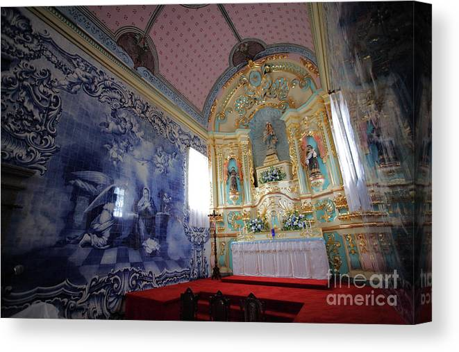 Fenais Da Ajuda Canvas Print featuring the photograph Chapel In Azores Islands by Gaspar Avila