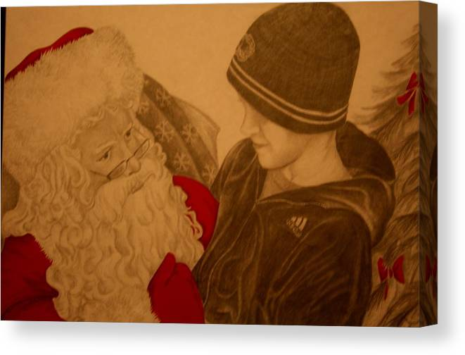 Sants Canvas Print featuring the drawing Chatting With Santa by Melissa Wiater Chaney