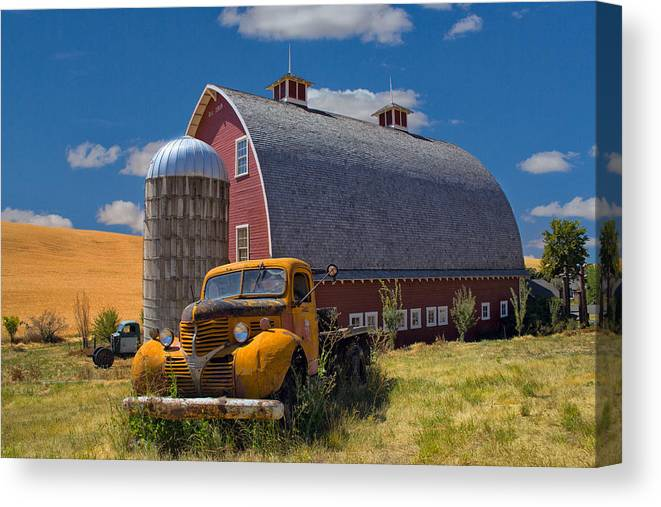 Truck Canvas Print featuring the photograph Chevy By The Red Barn by Emil Davidzuk