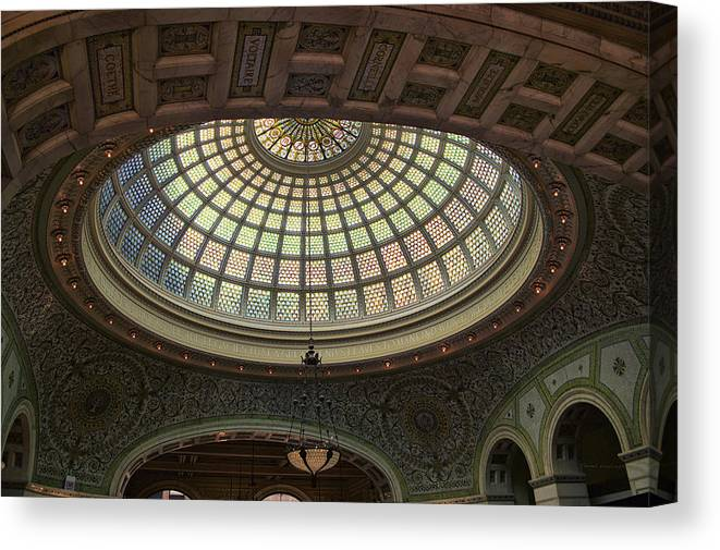 Chicago Cultural Center Canvas Print featuring the photograph Chicago Cultural Center Tiffany Dome 01 by Thomas Woolworth