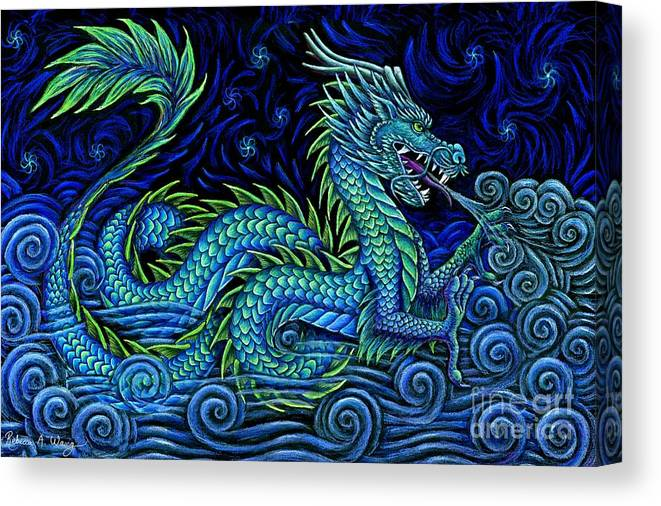 Chinese Dragon Canvas Print featuring the drawing Chinese Azure Dragon by Rebecca Wang