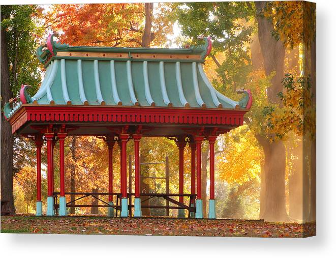 Chinese Pavillion Canvas Print featuring the photograph Chinese Pavillion In Tower Grove Park by Greg Matchick